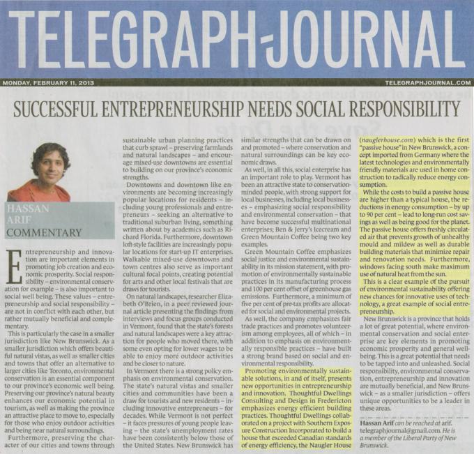 Successful Entreprneurship Needs Social Responsibility